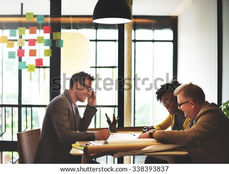 Group Architect Meeting Planning Blueprint Concept - stock photo