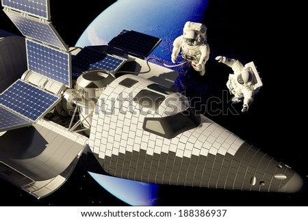 "Group astronauts outside the spacecraft..""Elemen ts of this image furnished by NASA"" - stock photo"