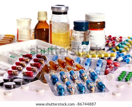 Group blister pack of pills. Remedy isolated. - stock photo