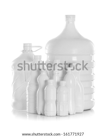 group bottle of water packaging isolated on a white background - stock photo