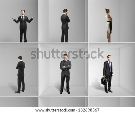 group businesspeople standing on a shelf - stock photo
