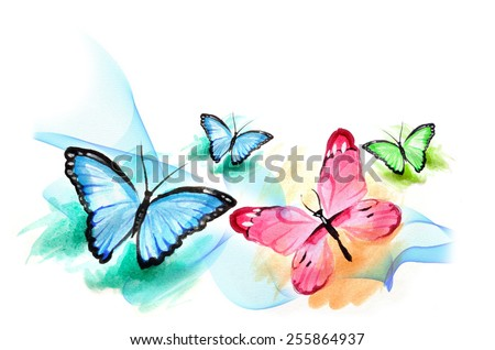 Group Butterfly watercolor painting - stock photo