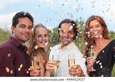 group champagne toast at party  celebration or wedding - stock photo