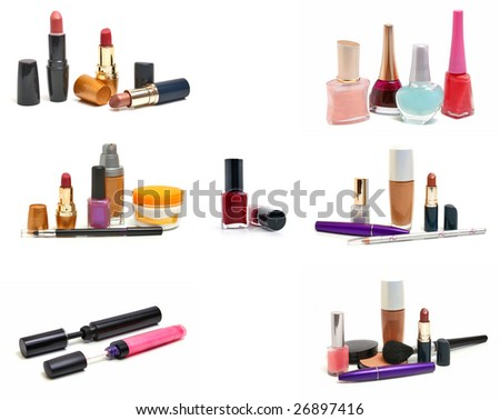 group cosmetics for woman isolated on white background - stock photo