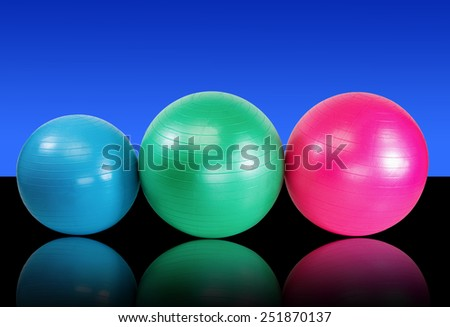 Group fitness balls for health club workout - stock photo