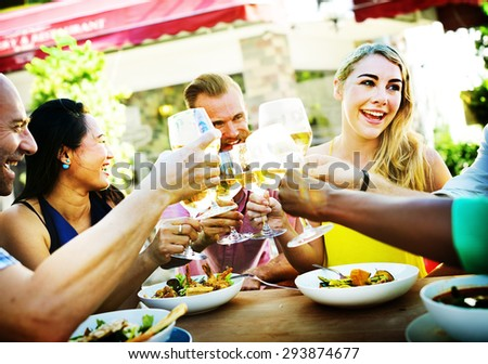 Group Friends Chilling Talking Holiday Concept - stock photo