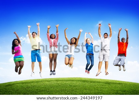 Group Friends Outdoors Celebration Winning Victory Jump Concept - stock photo