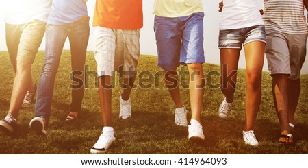 Group Friends Outdoors Holding Hands Unity Cooperation Concept - stock photo