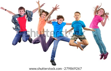 Group happy dancing jumping together children isolated over white background. Photo collage. Childhood, active lifestyle, sports and happiness concept. - stock photo