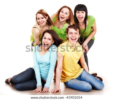 Group  happy people in green.Isolated. - stock photo