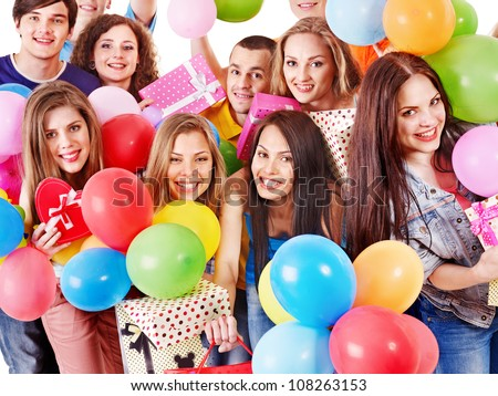 Group happy people with balloon on party. Isolated. - stock photo