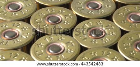 group hunting cartridges for shotgun closeup background. - stock photo