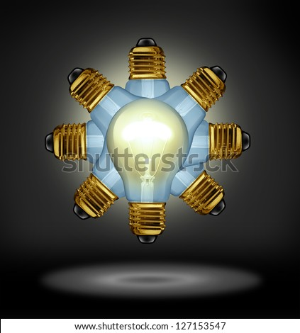 Group Ideas and creativity partnership concept with glowing light bulbs organized in a radial pattern as a symbol of the power of working together for innovation success on a black background. - stock photo