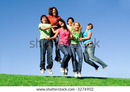 group jumping - stock photo
