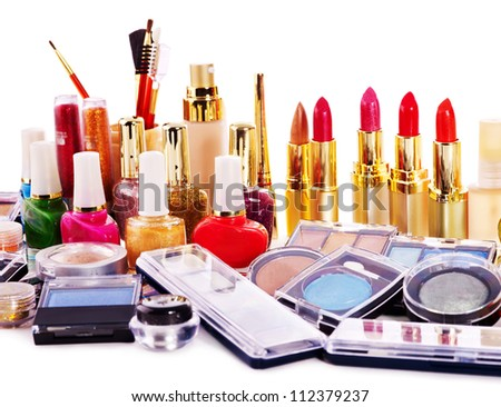 Group lipstick and decorative cosmetics . Close up. - stock photo