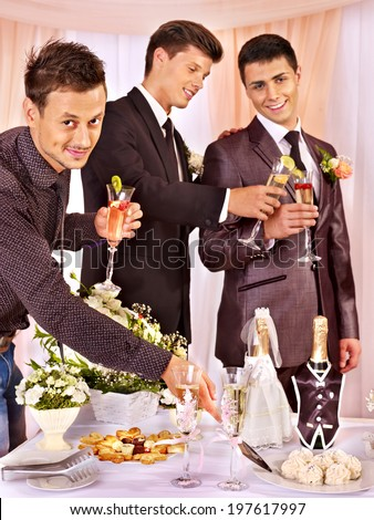 Group men people at stage party before wedding. - stock photo