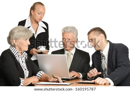 Group of a business people isolated on white - stock photo