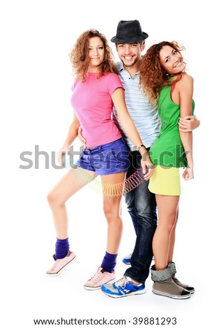 Group of a modern young people. Fashion, education, holidays. - stock photo