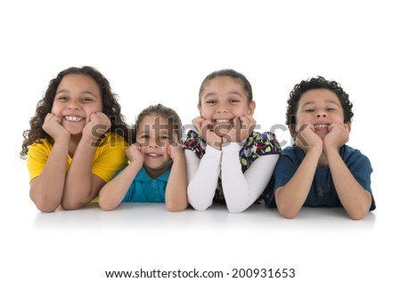 Group of Adorable Happy Kids Isolated on White Background - stock photo