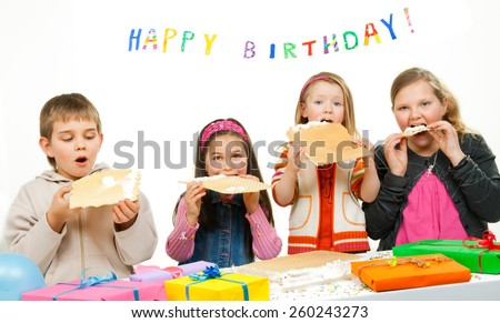 Group of adorable kids having fun at birthday party  - stock photo