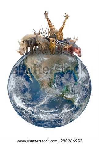 group of africa animal with planet earth, Element of this image are furnished by NASA - stock photo
