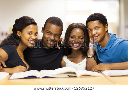 group of african american college students in library - stock photo