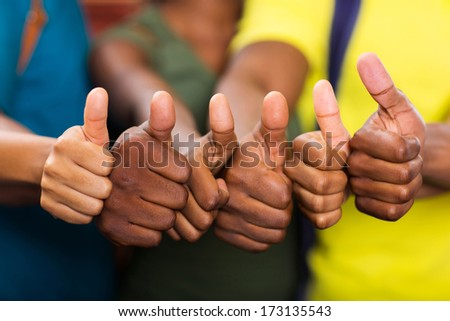 group of african american people thumbs up - stock photo