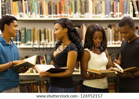 group of african american students in library - stock photo