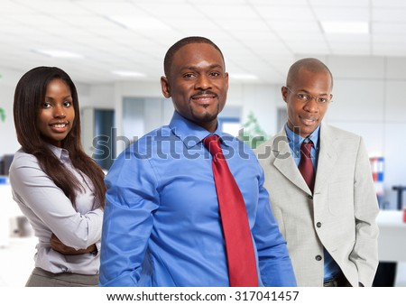 Group of afro-american business people - stock photo