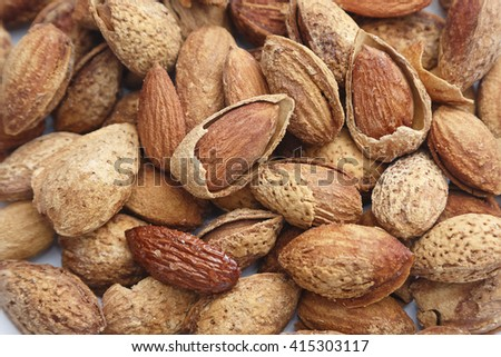 group of almonds background,isolate - stock photo