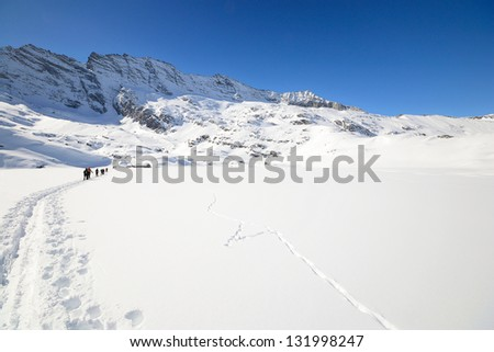 Group of alpinist hiking uphill by ski touring in powder snow with deep track in the foreground and scenic high mountain view in the background. Rear view. Location: italian Alps, Piedmont. - stock photo