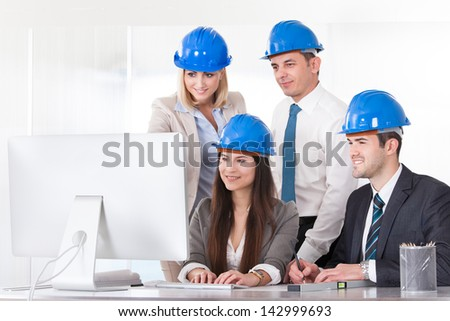 Group Of Architect People Working On Project - stock photo