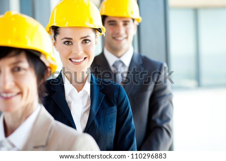 group of architects closeup portrait - stock photo