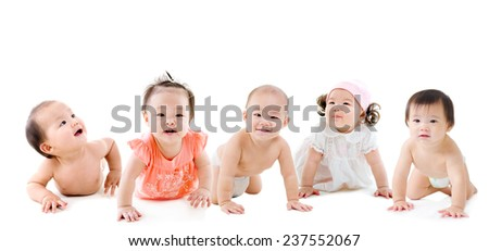 Group of asian babies - stock photo