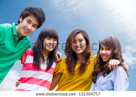Group of Asian young people - stock photo
