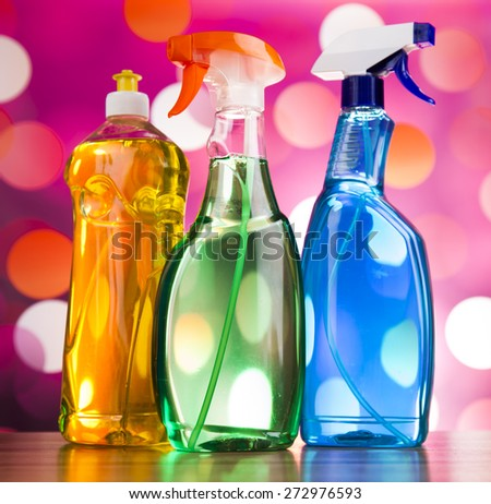 Group of assorted cleaning, home work colorful theme - stock photo