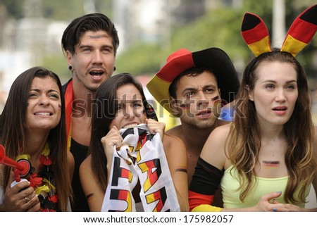 Group of astonish German sport soccer fans. - stock photo