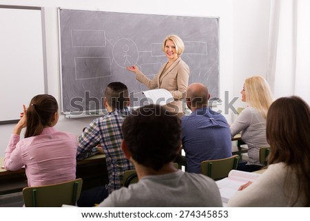 Group of attentive adult students with teacher in classroom  - stock photo