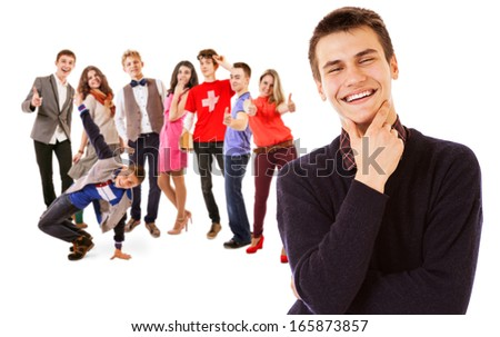 Group of attractive smiling young people  - stock photo