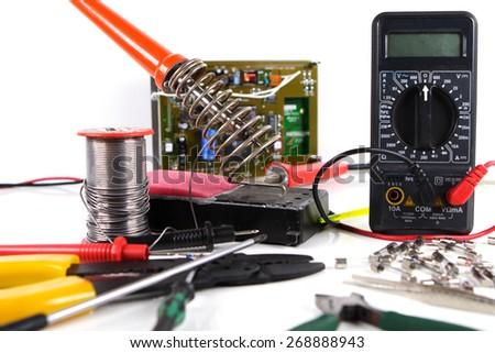 Group of basic electronic tools - stock photo