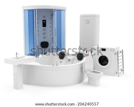 Group of Bathroom Equipment. Shower Cabin, Jacuzzi, Electric Water Heater, Washing Machine, Toilet, Washbasin and Bathroom Towel Dryer - stock photo