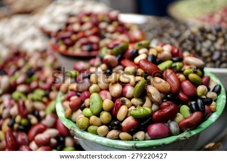 Group of beans and lentils - stock photo