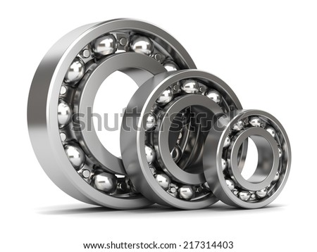 Group of bearings isolated on white background 3D - stock photo