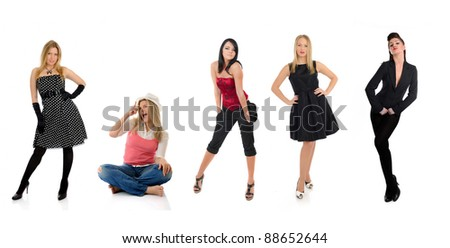group of beautiful elegant woman and one crazy girl sitting - stock photo
