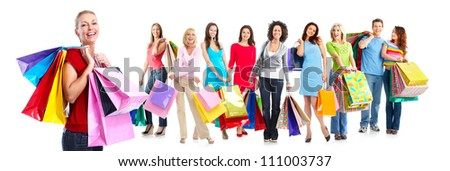 Group of beautiful shopping woman. Isolated on white background. - stock photo