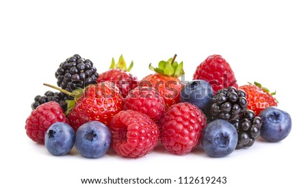 Group of berries isolated on white background - stock photo