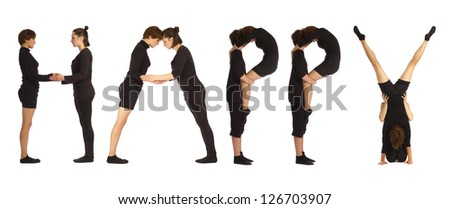 Group of black dressed people standing over white forming HAPPY word - stock photo
