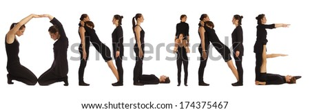 Group of black dressed people standing over white forming ON LINE words - stock photo