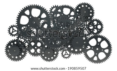 group of black gears for use in presentations, manuals, design, etc. - stock photo