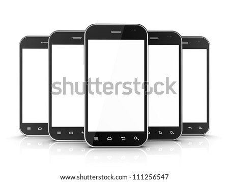 Group of black smartphones isolated on white background. 3d illustration - stock photo